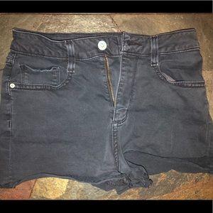 Pants - Black Denim Shorts